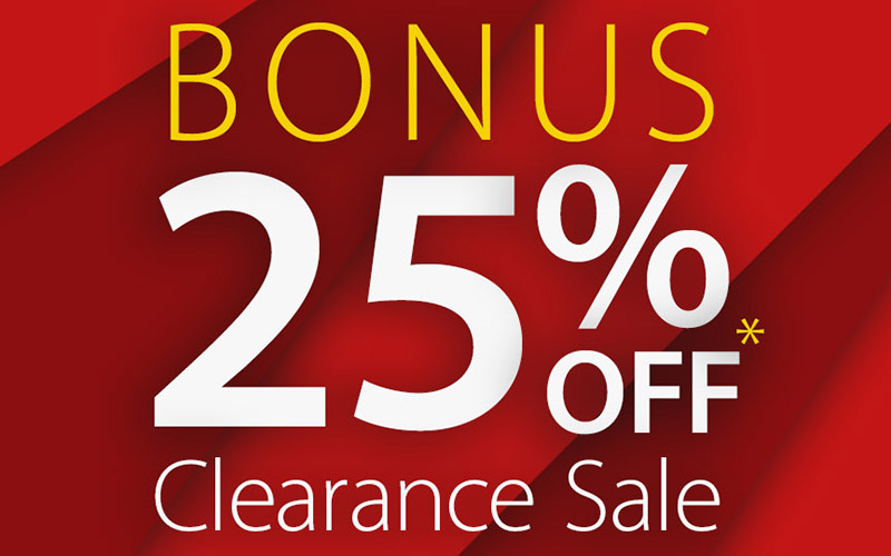 Bonus 25% OFF Clearance Sale